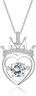 925 Sterling Silver Necklace for Women CZ Heart Necklace Elegant Queen Crown Heart Pendant Necklace for Teen Girls Set with Swarovski Zirconia