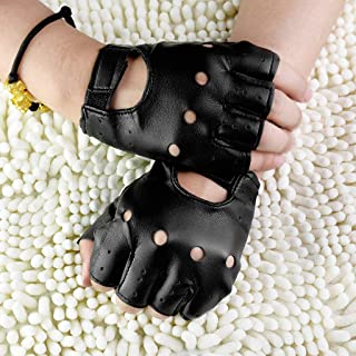 7d3336c82e RingBuu Men Gloves - Faux Leather Slip-Resistant Half Finger Fingerless  Gloves Hand Wrist Mittens