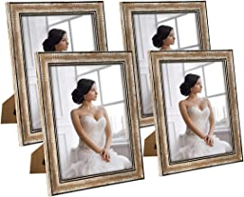 NUOLAN 8x10 Picture Frame Farmhouse Rustic Brown Wood Pattern Photo Frames with Silica Glass for Tabletop or Wall Mounting,4 Pack (NL-WPC8X10-RB)