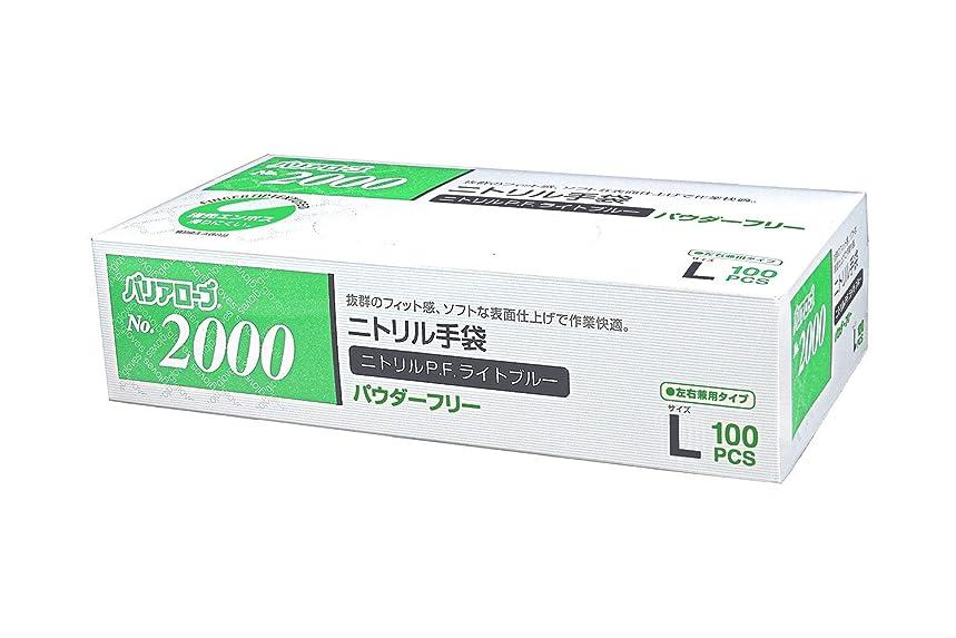 受動的里親角度【ケース販売】 バリアローブ №2000 ニトリルP.F.ライト ブルー (パウダーフリー) L 2000枚(100枚×20箱)