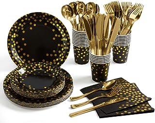 لوازم الحفلات U-HOOME سوداء وذهبية 175 قطعة من أدوات المائدة للحفلات للاستعمال مرة واحدة - أطباق ورقية سوداء، شوكات بلاستي...