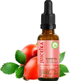 ORGANIC ROSEHIP OIL 100% PURE & ULTRA LIGHT. CERTIFIED ORGANIC. 100% Pure Moisture. Deluxe Shield for Skin & Hair. The best ultimate skin & hair care with Vitamins A, E, and C, Omega 3, 6 & 9 -irreplaceable