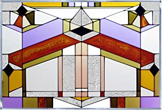 Deco Architectural Geometric Art Glass Panel Wall Window Hanging Suncatcher 14 x 20