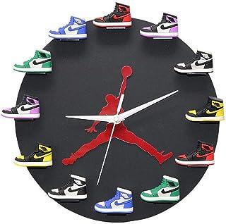 WANGT Horloge Sneaker 3D avec Peint à La Main, 1-12 Mini Baskets Montage Mural Jordan Clock Mini Sneaker Clock en Couleur ...