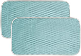 mDesign Ultra Absorbent Reversible Microfiber Dish Drying Mat and Protector for Kitchen Countertops, Sinks: Folds for Compact Storage, Mini
