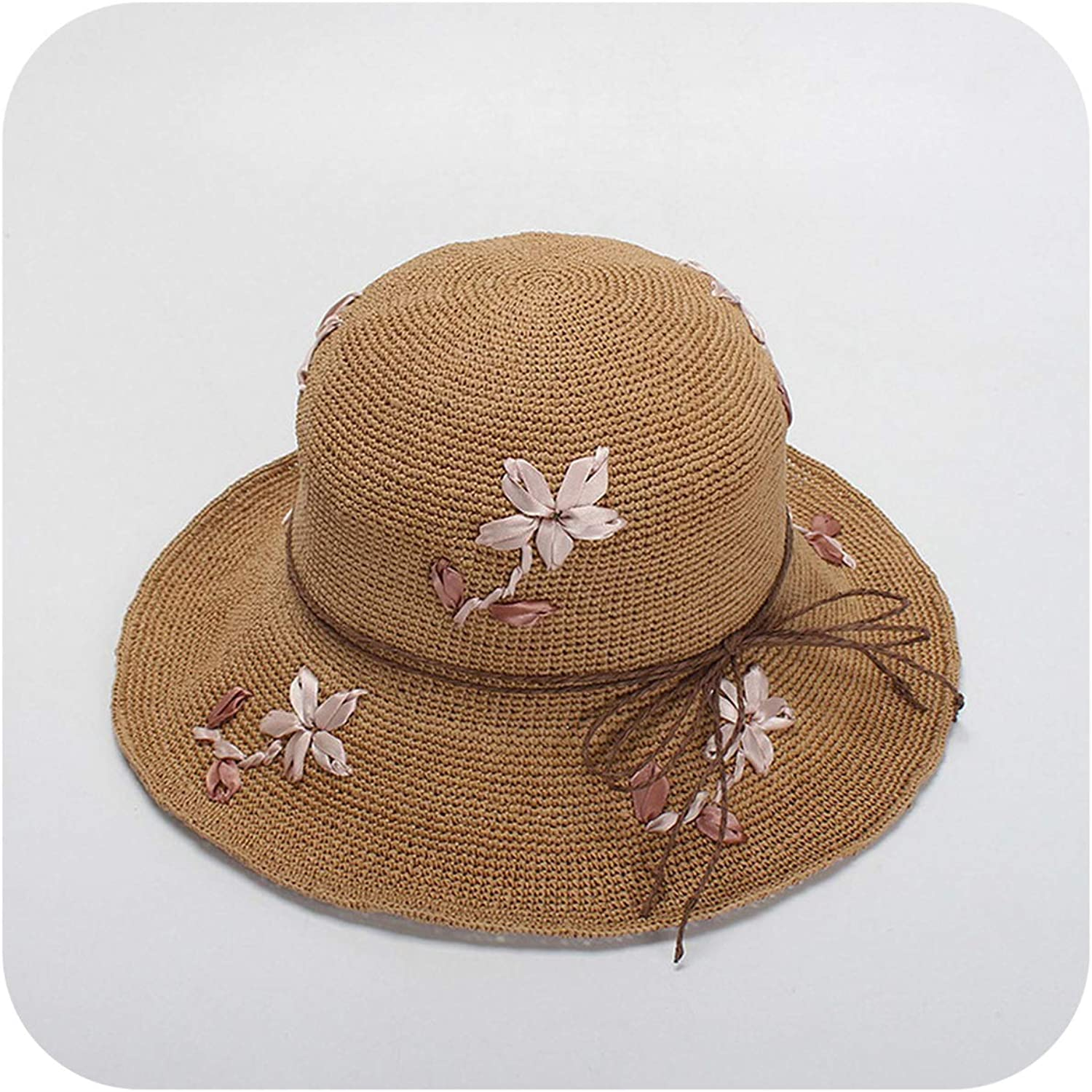 Crochet Hat for Women Packable Clochet Paper Straw Hats Summer Sun Hat,