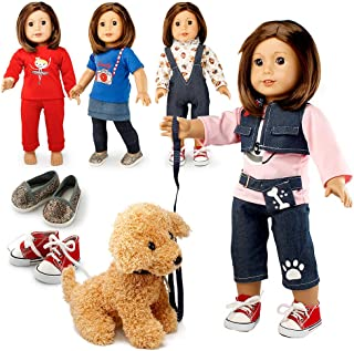 """Oct17 Doll Clothes for American Girl 18"""" inch Dolls Wardrobe Makeover Outift Dog Puppy Casual Wear Bundle"""