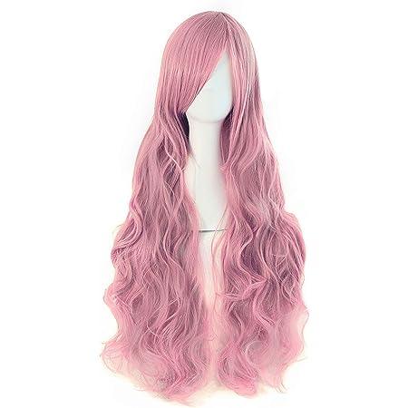MapofBeauty Beautiful Long Wavy Harajuku Style Cosplay Wig Beige//Pink