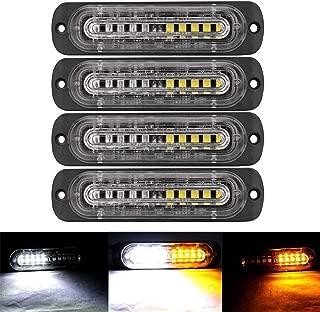 XT AUTO 4.4-inch Ultra Thin Slim Strobe 10 LED Light Head Emergency Hazard Beacon Caution Warning Strobe Lights for Truck Car Vehicle Law Enforcement Snow Plow Amber/White 4-pack