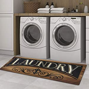Cekene Laundry Room Runner Rug Non-Slip Rubber Laundry Floor Mat Durable Waterproof Mats for Washhouse Kitchen Doormat Farmhouse Decor 20x59 inch