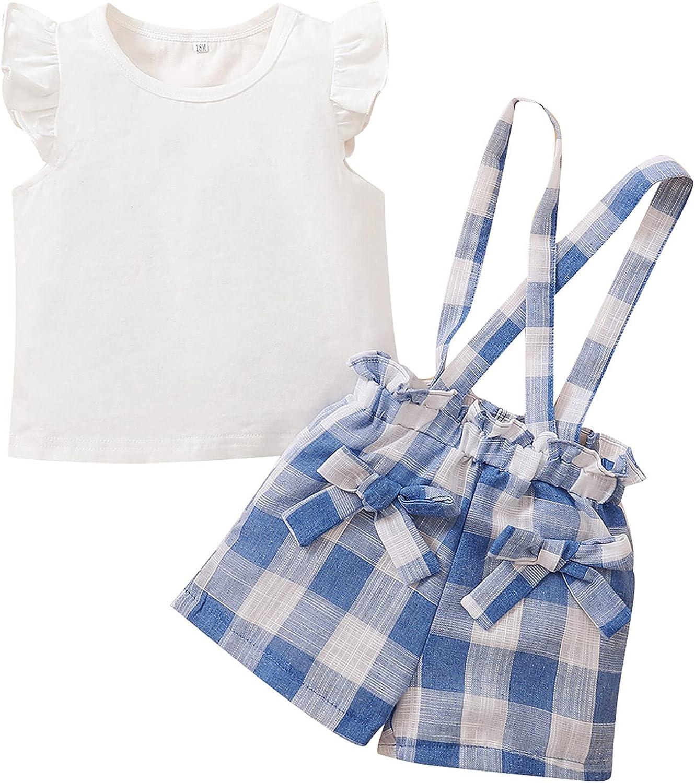 Toddler Girl Flutter Shorts Set Ruffle Sleeve Top+Suspender Plaid Short Set 1-4T