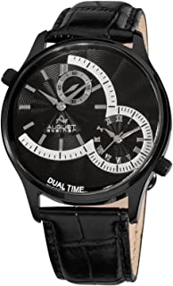 August Steiner Men's Dual Time Dress Watch - Black Case with Textured Black Dial and 3 Sub Dials on Black Genuine Leather ...