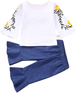 2PCS Toddler Baby Girls Floral Long Sleeve Top Shirt+Loose Pants Jeans Casual Clothing Set