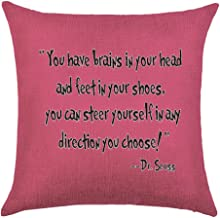 Bnitoam Colorful Bright Background Pattern You Have Brains in Your Head and feet in Your Shoes Cotton Linen Throw Pillow Covers Case Cushion Cover Sofa Decorative Square 20 x 20 inch (3)