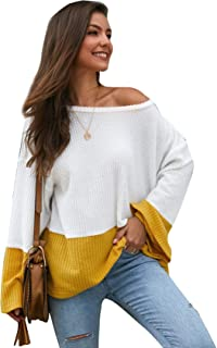 Floerns Women's Causal Long Sleeve Color Block Loose Knit Sweater Jumper Pullover