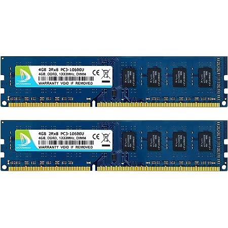 DUOMEIQI 8GB RAM Kit(2 X 4GB) DDR3 RAM 8GB pc Parts Desktop ram Computer Memory UDIMM DIMM 1333MHz PC3 10600 2RX8 CL9 1.5v (240 PIN) Non-ECC Unbuffered for Intel AMD System Gaming ram Sticks pc ram