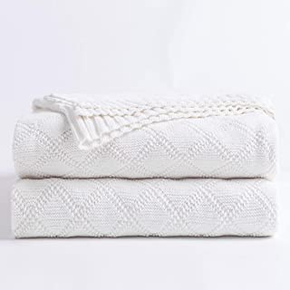 100% Cotton White Cable Knit Throw Blanket for Couch with Bonus Laundering Bag – Large 50 x 60 Inch Thick, Extra Cozy, Machine Washable, Comfortable Home Decor