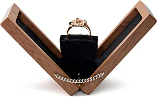 IdeaWoodCompany Engagement Flat Ring Box - Proposal Wooden Ring Box - Wedding Slim Velvet Ring case - Square Thin up Engagement Rotating Box Secret
