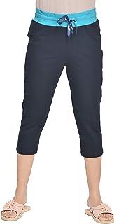 A9- Women Cotton Solid Grey Capris