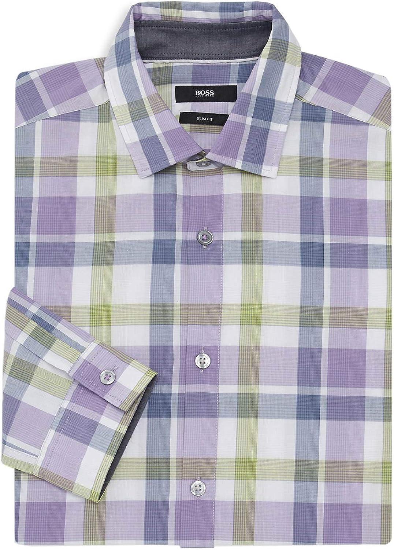 Hugo Boss Mens Nemos Slim-Fit Check Dress Shirt XXL Purple