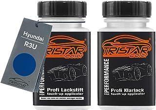 TRISTARcolor Autolack Lackstift Set für Hyundai R3U Ara Blue Metallic Basislack Klarlack je 50ml