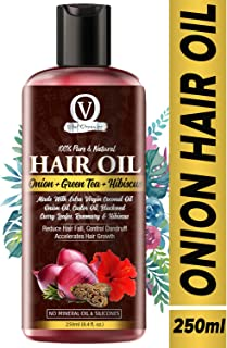 Vital Organics Onion Hair Oil With Castor Oil,Green Tea, Hibiscus, Argan Oil, Blackseed Oil, Rosemary Oil And 24 Essential Oils And Natural Extracts For Hair Growth,Strong And Healthy Hair