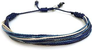RUMI SUMAQ Surfer String Bracelet for Men Blue Gray White w Hematite Stones Handmade Woven Rope Adjustable