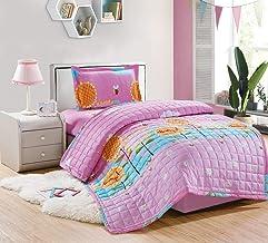 طقم لحاف مضغوط اطفال مفرش سرير 3 قطع من موون,زهور,مقاس مفرد