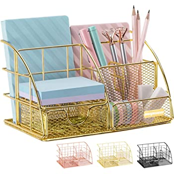 Gold Desk Organizer, AUPSEN Mesh Office Supplies Desk Accessories, Features 5 Compartments + 1 Mini Sliding Drawer