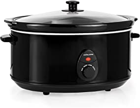 Andrew James Slow Cooker 3.5 litres | Tempered Glass Lid & Removable Ceramic Bowl | Ideal for Making up to 10 Portions of Slow Cooker Recipes | 3 Temperature Settings | 200W | Black