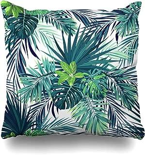 Ahawoso Throw Pillow Cover Exotic Forest Botanical Pattern Green Palm Modern Leaves Hawaiian Abstract Aloha Beach Black Design Decorative Zipper Cushion Case Square 16