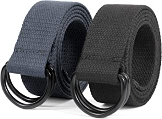 """JASGOOD Men&Women Canvas Belt Web Fabric Casual Belt with Black Double D-ring 1 1/2"""" Wide Set of 2,Fit Waist Size 36-41 In..."""