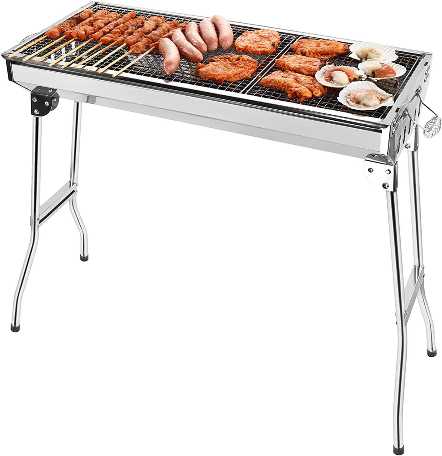 Charcoal Grills Portable BBQ - 返品送料無料 Stainless Steel Campi Folding 最新