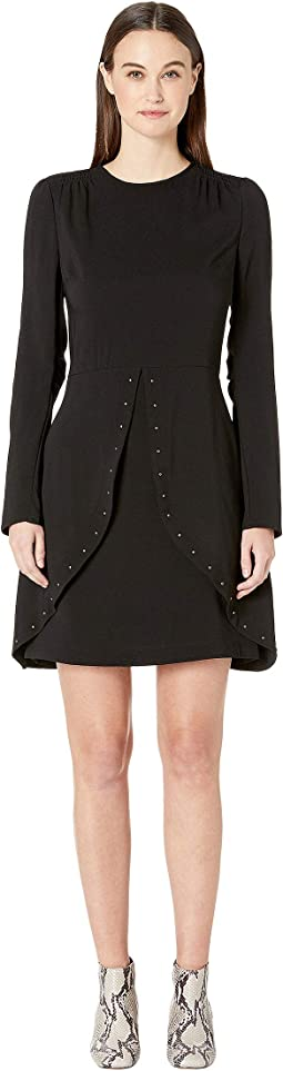 Studded Crepe Long Sleeve Dress