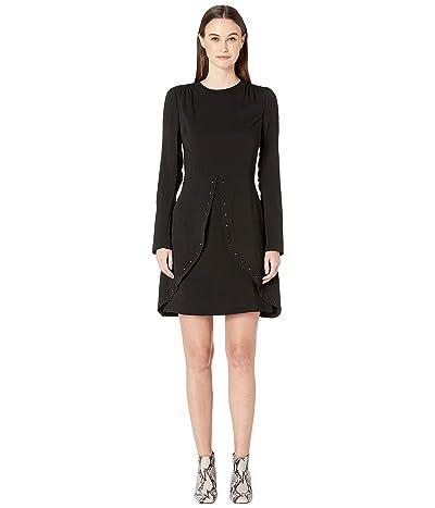 See by Chloe Studded Crepe Long Sleeve Dress (Black) Women