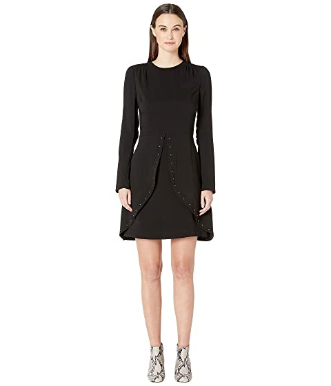 See by Chloe Studded Crepe Long Sleeve Dress