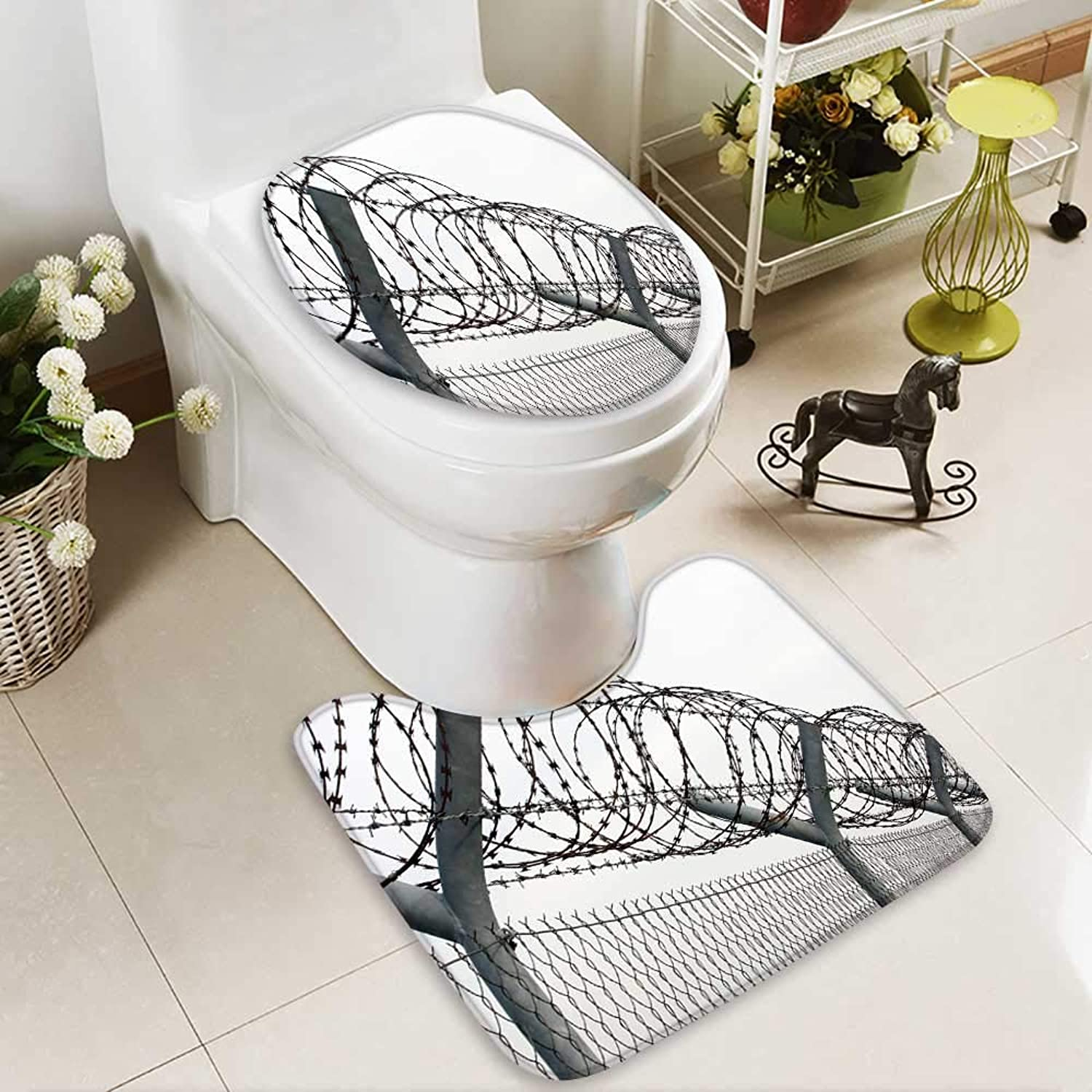 Aolankaili Cushion Non-Slip Toilet Mat Fence a Barbed Wire Soft Non-Slip Water