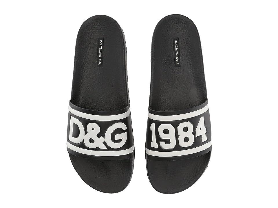 Dolce & Gabbana Pool Slide Sandal (Black/White) Men