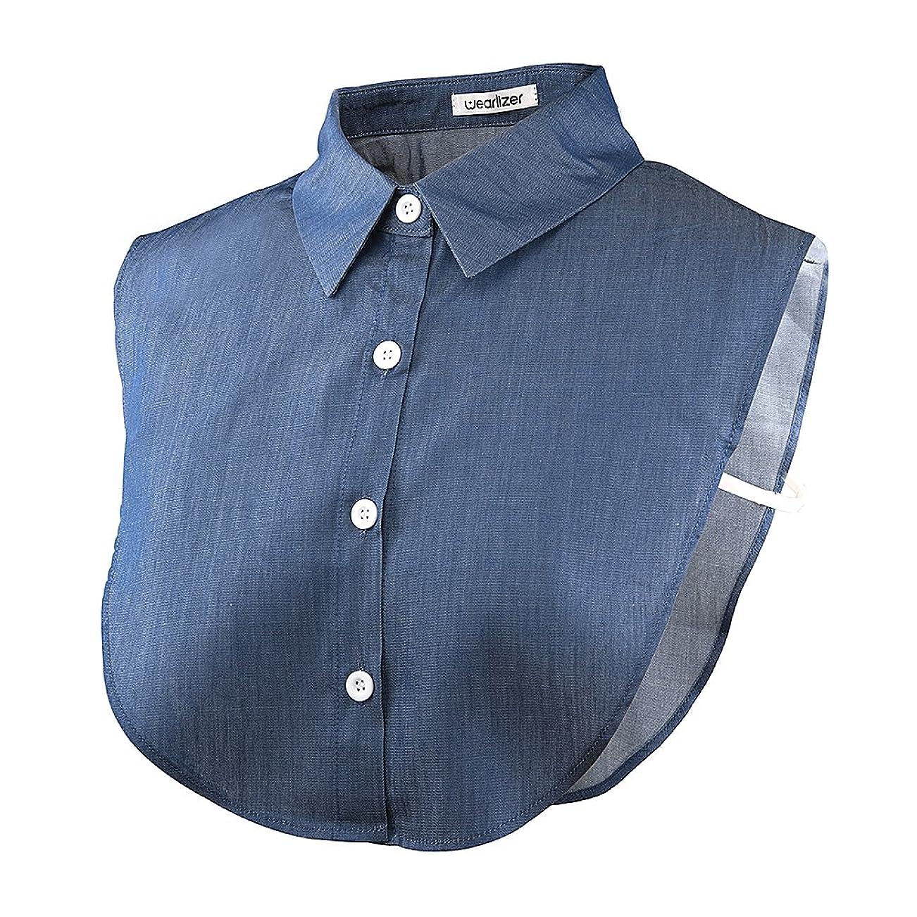 つけ襟 Wearlizer シフォン製 シャツ 角襟 衿 ブラウス ホワイト ヘアーゴムー付 (デニム)