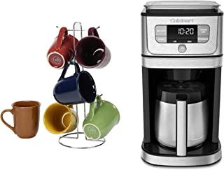 Cuisinart Burr Grind and Brew 10-Cup Stainless Steel Drip Coffee Maker bundle with La Rosticceria 6-Piece Cafe Amaretto Assorted Colors 15 Ounce Mug Set