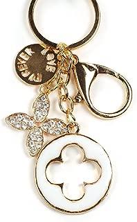 Rhinestone Crystal Monogram Flower Keychain Rhinestone Crystal Handbag Key Charm Ring