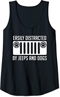 Womens Easily Distracted By Jeeps & Dogs Dog Lover Birthday Gift Tank Top