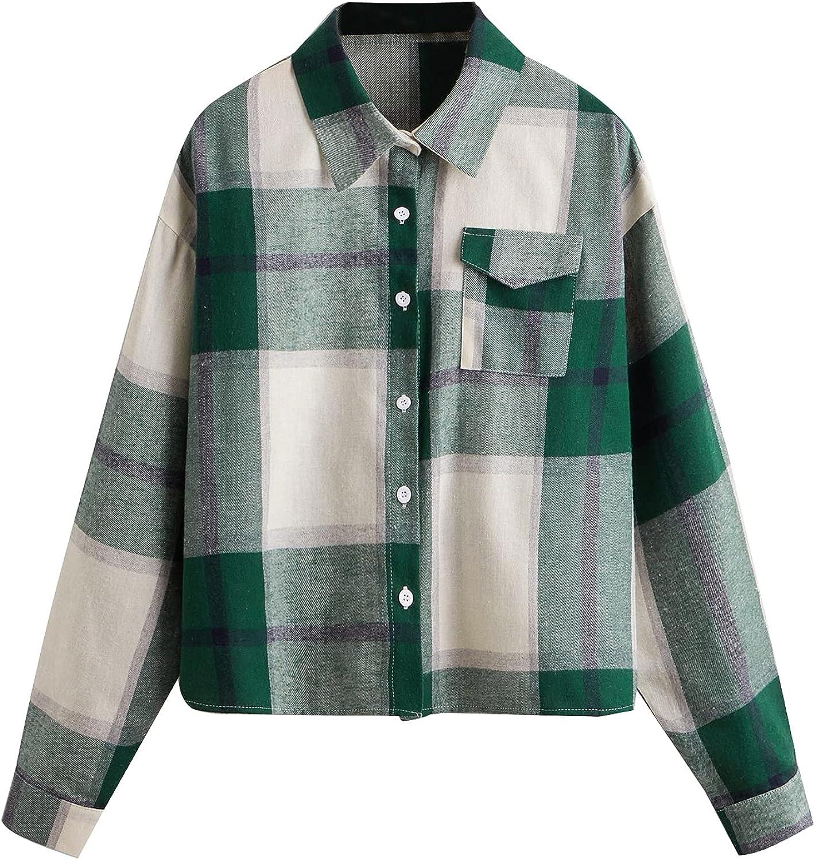 Verdusa Women's Plaid Print Cheap Pocketed Oakland Mall Long Sleeve Bl Front Button