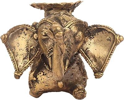 Shabari Emporium (A Chhattisgarh Govt. Handicraft Emporium) Handmade Dhokra Bell Metal Craft Elephant Candle Stand/Home Décor/Card Holder/Metal Craft/Idol (23 cm x 13 cm x 10 cm, Gold Color)