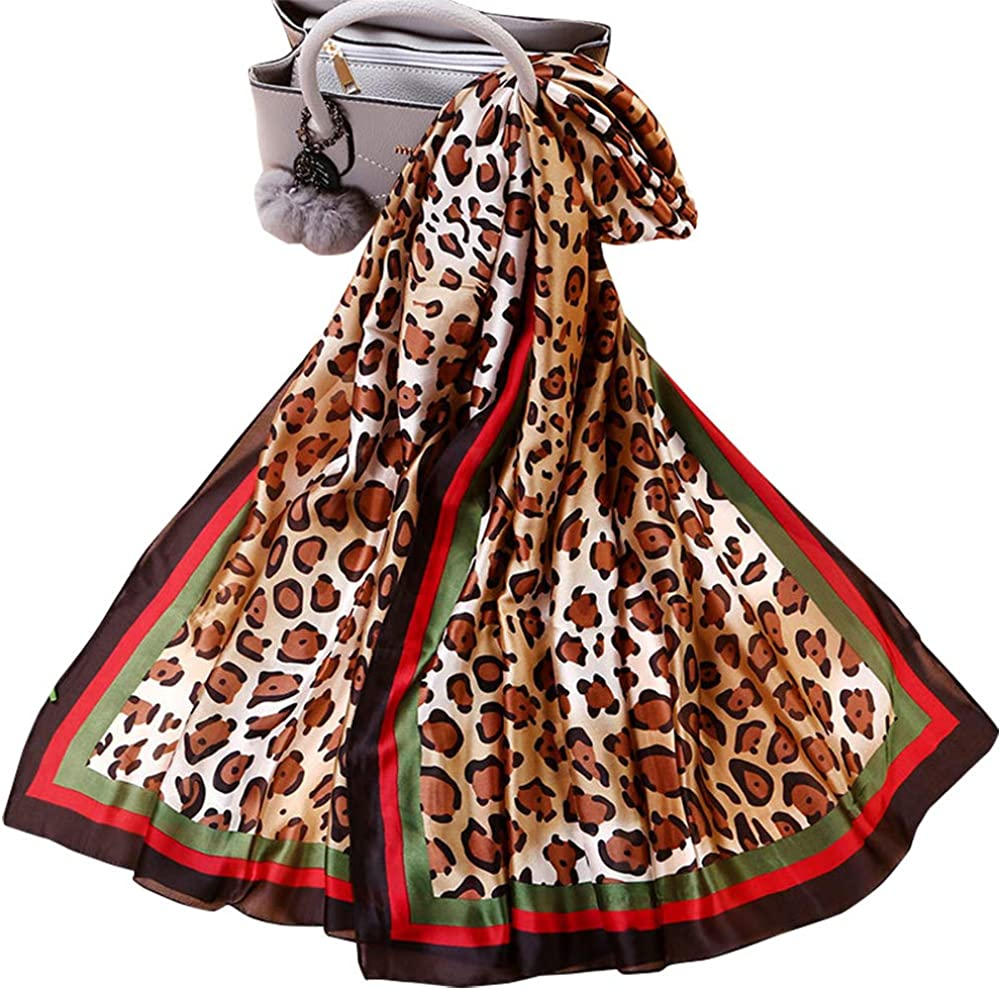 Silk Scarf for Women Fashion Floral Printed Large Lightweight Sunscreen Shawls Wraps Headscarf