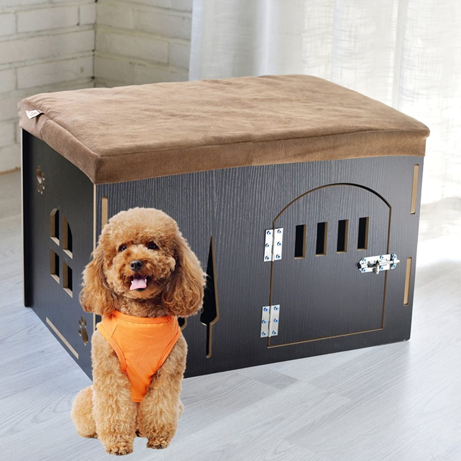 Nclon The rabbit [dog] [cat] Home [housing] Changing shoes stool Removable Pet cages [house] Wood [housing] Changing shoes stoolRed pine lengthened  with door 59  41  39cm