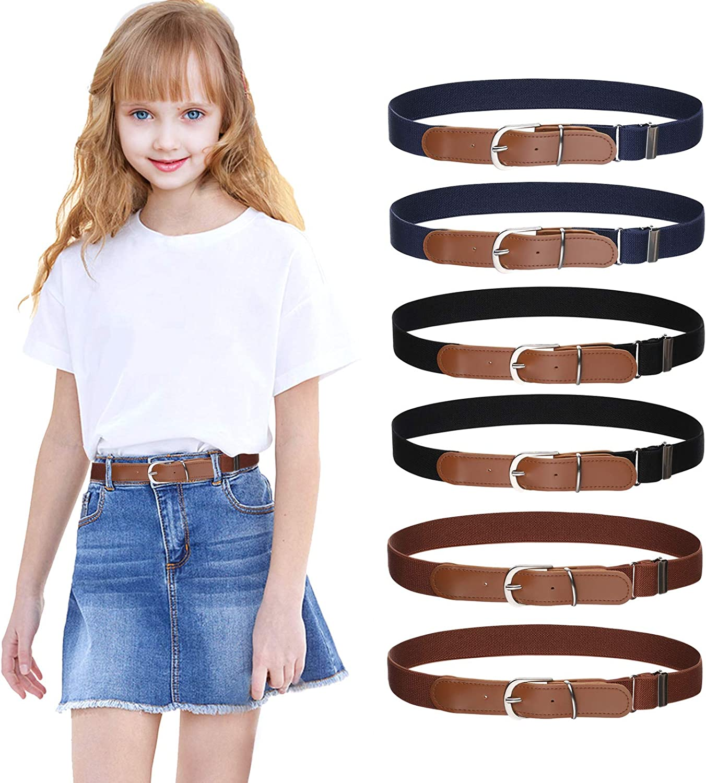 Kids Adjustable Belts for Boys - 6pcs Toddler Elastic Belt Leather Loop Belt for Boys and Girls by WELROG