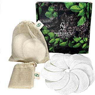 Bamboo Cotton Reusable Makeup Remover Pads (20 Pack) with 2 Laundry Bags – Natural Reusable Cotton Rounds, Washable - Zero Waste, Reusable Cotton Pads Face