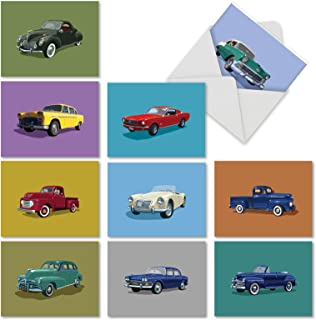Vintage Vehicles' Note Cards for All Occasions (Box of 10), Assorted Blank Greeting Cards with Envelopes, Stationery with Retro and Classic Trucks and Cars 4 x 5.12 inch M4182OCB-B1x10