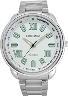 Charles Delon Mens Quartz Watch, Analog Display and Stainless Steel Strap 5089 GPWS